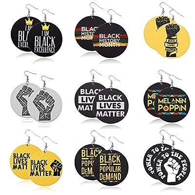 MUYOU African Earrings For Women Wooden Black Lives Matter Earrings Round Painted Wooden Earrings Statement Ethnic Style Drop Dangle Earrings Set 9 Pairs