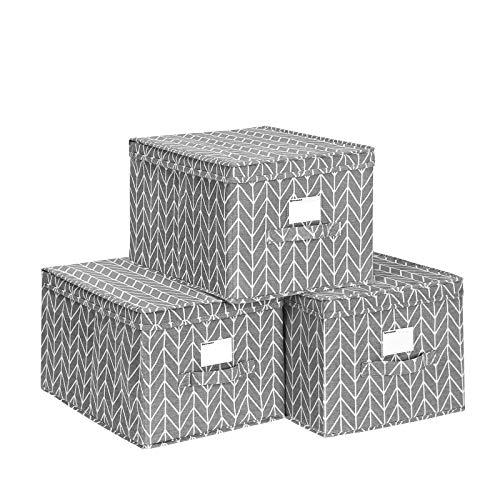 SONGMICS Faltbox, 3er Set, Aufbewahrungsbox mit Deckel, Stoffbox mit Etikettenhalter, Aufbewahrung, Organizer, 40 x 30 x 25 cm, grau RTFB03G