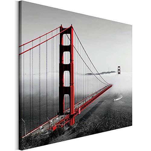 Revolio - Cuadro en Lienzo - impresión artística - Decoracion de Pared - Tamaño: 50x50 cm - Puente San Francisco Rojo