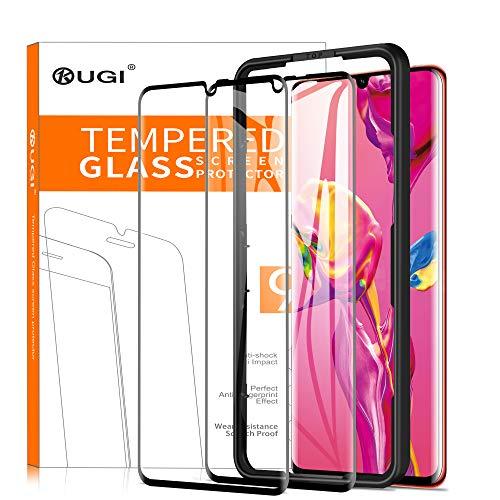 KuGi per Huawei P30 pro Pellicola, Pellicola protettiva [Anti-Riflesso Anti-Bolla] [Durezza 9H] Applicare Disegnato per Huawei P30 pro Smart phone (Nero)(2 Pezzi)
