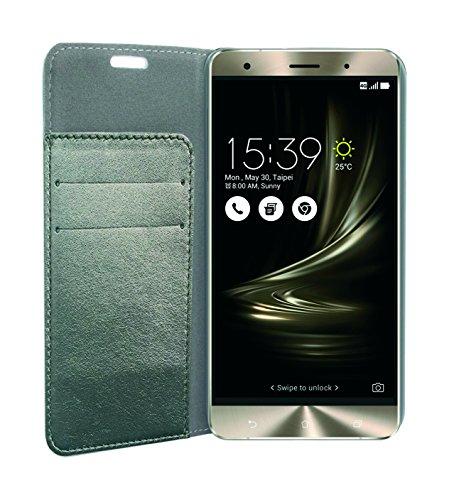 Phonix ASZ3DBCS Öko-Leder Buch-Hülle für Asus Zenfone 3 Deluxe 14,5 cm (5,7 Zoll) (ZS570KL) metallic grau