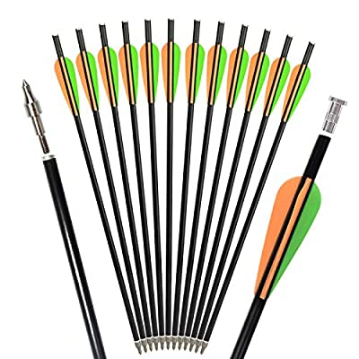 """SHENG-RUI Crossbow Bolts Arrows 14""""&16"""" Hunting Archery Targets Arrow with Replaced Arrowheads Flat Nocks (12 pcs/Pack)"""