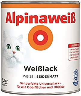 Alpina Farben GmbH – Alpine Weiß 2 L, Seide matt, 2 in 1 Grundierung und Farbe, Lackfarbe, weiß 26 M²