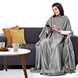 CANDY CANE Premium Wearable Fleece Blanket 70'x50' with Three Holes - Super Soft, Lightweight, Microplush, Cozy and Functional Throw Blanket for Adult, Women and Men (Lazy Gray)