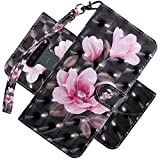 EMAXELER LG K51 Case 3D Full Stylish Premium PU Leather Wallet Flip Shockproof Bookstyle Magnetic Protective Cover with Cards Slots Holder Stand for LG K51 Black Powder Flower BX.