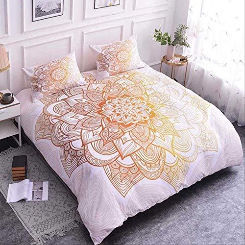 WGLG Double Bedding Duvet Set, 3D Digital Printing India Mandala Bedding Set Luxury Home Textiles Bed Linen Adult Kids Duvet Cover Set 3 Pcs