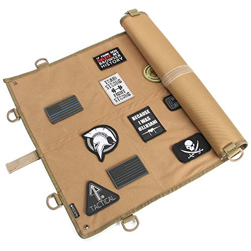 "14er Tactical Morale Patch Panel | Large 24"" x 18"" Hook & Loop Surface & Ballistic Backing w 360-deg D-Rings & Strong Wrap-Strap 