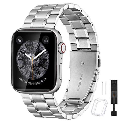 BesBand コンパチブル apple Watch バンド と互換性のあるアップグレードバージョンソリッドステンレススチールベルトビジネス交換,コンパチブル iwatch SE/Series 6 5 4 3 2 1(38mm 40mm, マットシルバー/ポリッシュシルバー)