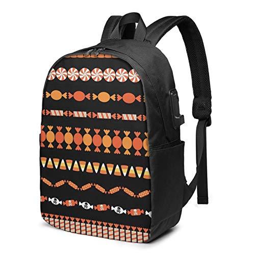 WEQDUJG Mochila Portatil 17 Pulgadas Mochila Hombre Mujer con Puerto USB, Clipart maíz Halloween Candy Mochila para El Laptop para Ordenador del Trabajo Viaje