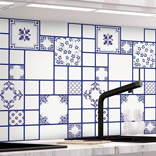 KINLO - Adhesivo para azulejos, azulejos de mosaico, papel pintado para baño y cocina, PVC, decoración de azulejos en el baño