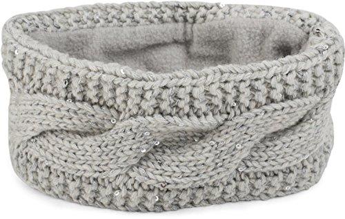styleBREAKER Damen Stirnband Grobstrick mit Zopfmuster und Pailletten, warmes Fleece Innenfutter, Haarband, Headband 04026002, Farbe:Hellgrau