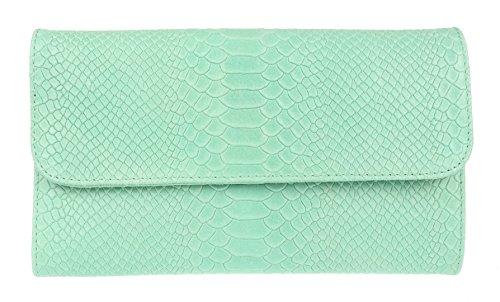 Girly Handbags Impresión de la serpiente del ante del bolso de embrague de cuero italiano