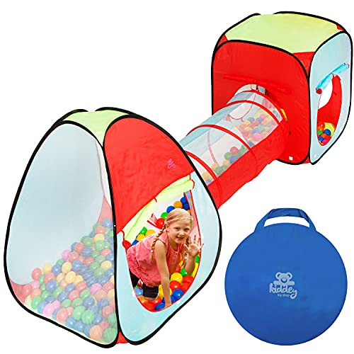 Kiddey Children's Dual Play Tent with Tunnel (3-Piece Set) – Indoor Outdoor Playhouse for Boys and Girls – Lightweight, Easy to Setup (3 Pc. Tent)
