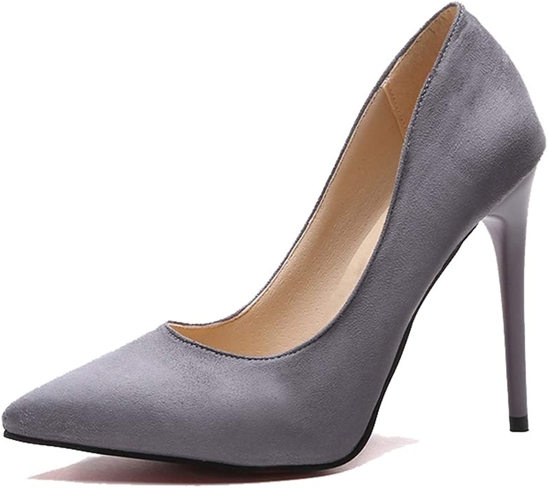Sam Carle Women's Pumps,Simple Temperament Sexy Suede Yellow Grey High Heels