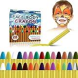 URAQT Visage Peinture, 28 Couleurs Crayons Peinture pour Visage et Corps, Crayons Maquillage pour Enfants, Non Toxique, Lavable, Idéal pour Cosplay, Carnaval, Anniversaire, Halloween, Pâques, Noël