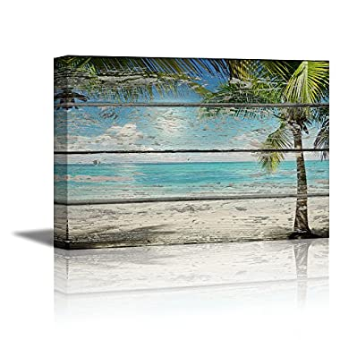 wall26 - Canvas Prints Wall Art - Tropical Beach with Palm Tree on Vintage Wood Background Rustic Home Decoration - 32  x 48