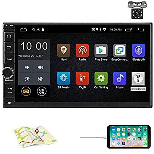 Android 8.1 Auto Stereo Radio Empfänger, Doppel Din 7'' HD Touchscreen Kopfeinheit, Unterstützung Bluetooth Dual System Spiegel Link eingebautGPS WiFi + 8 LED-Leuchten Backup-Kamera