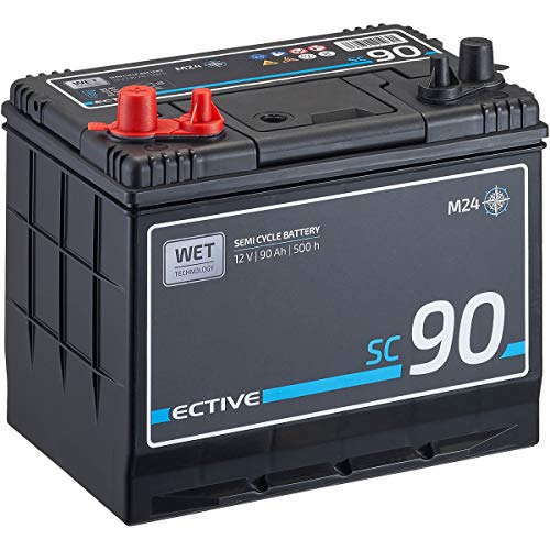 ECTIVE 12V 90Ah Marine Nass-Batterie Semi Cycle-Serie Boot Versorgungsbatterie SC90 wartungsfrei