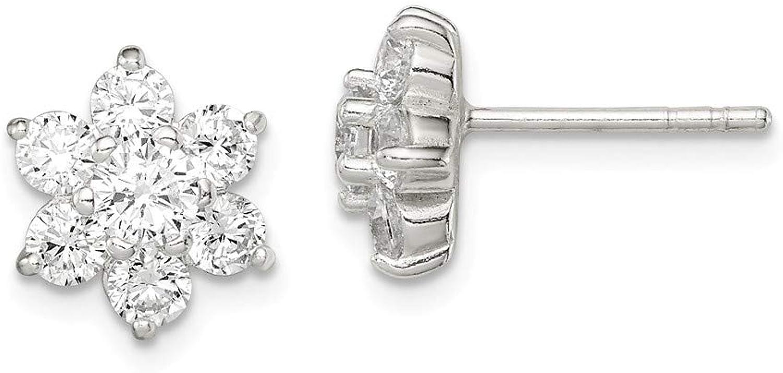 Beautiful Sterling silver 925 sterling Sterling Silver CZ Flower Post Earrings