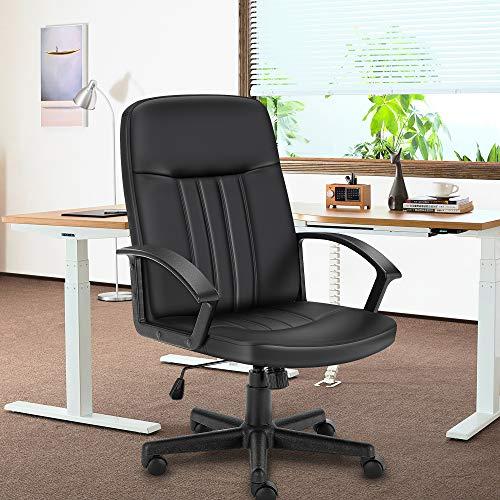 Snoviay Bürostuhl, Schreibtischstuhl aus Leder mit mittlerer Rückenlehne, Computer-Drehstuhl, ergonomischer Executive-Stuhl mit Armlehnen(Schwarz)