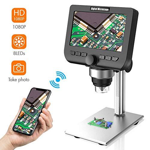 """Microscopio digital de LCD, YINAMA 4.3 """"1080p, 2 MP, zoom 1000x, cámara inalámbrica con microscopio estéreo USB,compatible con iPhone, Android, iPad, PC, MAC, Windows"""