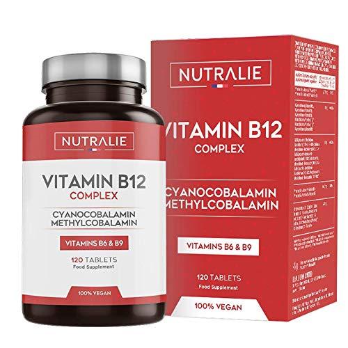 Vitamine B12 Vegan 2000mcg Méthylcobalamine et Cyanocobalamine | Haute Puissance et pas d'Additifs | Réduction Fatigue et Formation Globules Rouges avec B9 et B6 | 120 Comprimés Végétaliens Nutralie