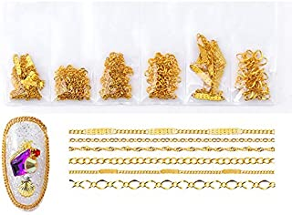 GreatDeal68 3D Nail Art Decoration Variety Shapes Metal Chain Gold Silver Copper Rose Gold Plus Mixed Colors (Gold Chain)