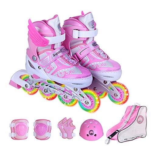 HealHeatersⓇ Inline Skates Kinder Inliner Für Kinder Und Erwachsene Mit 8 Räder Beleuchtung Und 4 Einstellbare Grössen,Rosa,S(31~34 EU)