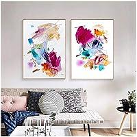 モダンでカラフルな抽象的な水彩画プリントキャンバス絵画ポスター壁画リビングルームの家の装飾壁画