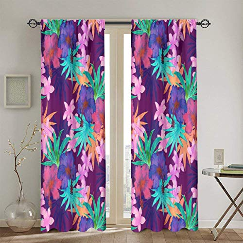 Heidi Tropical Floral Purple Blackout Curtains Thermal Insulated Grommet Curtains for Living Room and Bedroom 2 Panels 52 x 84 in One Size Stabtasche