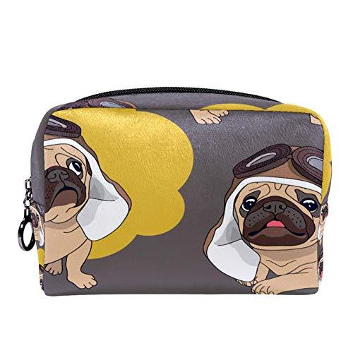 Bolsa de cosméticos Bolsa de Maquillaje para Mujer para Viajar para Llevar cosméticos, Cambio, Llaves, etc. Cachorro de Dibujos Animados en un Casco de piloto