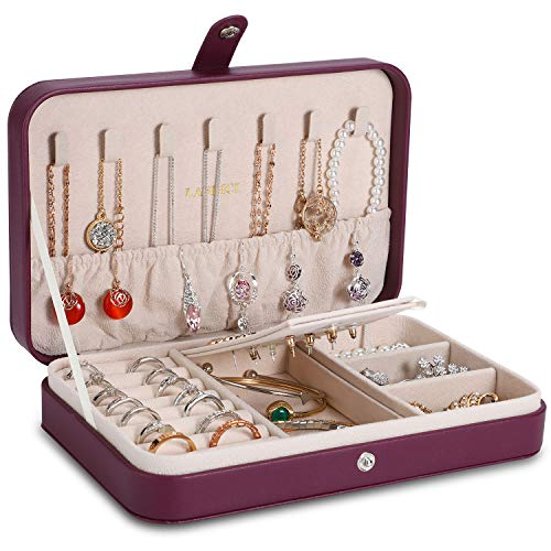 LANDICI Jewellery Box Organiser for Girls Women,Small Travel Jewelry Storage Case,PU Leather Jewellery Holder Tray Display for Ring Earrings Necklace Bracelet Bangle Ladies Mens Kids Gift,Purple