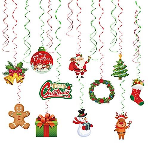 HONMOK 30pcs turbinii di Natale Decorazione da Appendere Ornamenti a Spirale Stelle filanti a Spirale Verde Rosso Buon Natale per Feste di Natale Decorazione Cortile di casa Soffitto Albero di Natale