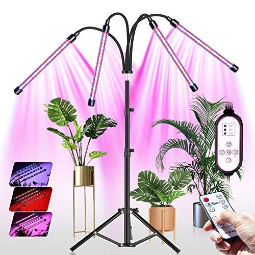 CXhome LED Pflanzenlampe Mit Ständer,15.7-43.3 Zoll,4-in-1 Stehleuchte-Rot/Blau, RF Controller&Zeilengesteuerte Timing 4/8/12H,3 Lichtmodi&10-stufige Helligkeit, Für Zimmerpflanzen.