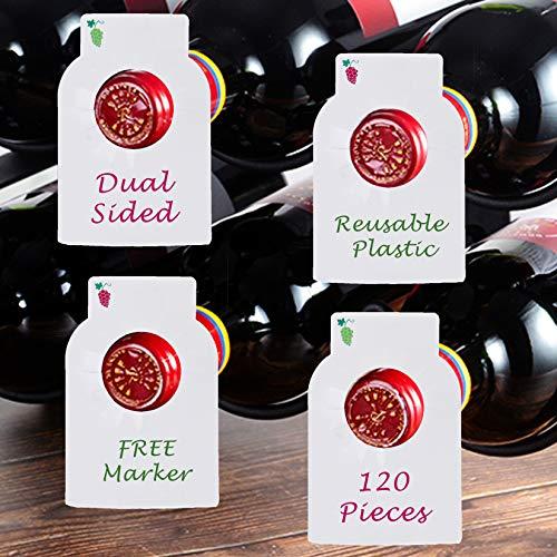 Reusable Wine Bottles Tag Racks Bottle Labels Hang Tags Cellar Storage Glass Markers Plastic Custom Label Fit Enthusiast Erasable Wipes Dry Erase Marker Colored Rack Bulk Blank Liquor Hangers 120 PCS