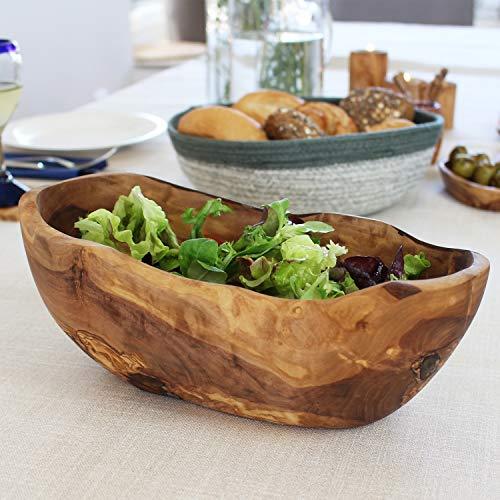 mitienda mit Liebe gemacht Salatschale aus Olivenholz 27cm oval, Obstschale, Brotkorb, große Schale aus Holz