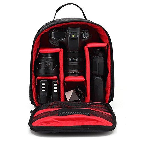 Covermason Sac à Dos pour Caméra HUWANG Appareil Photo Sac à Dos Sac Caisson étanche pour Canon à Nikon pour Sony (Rouge)