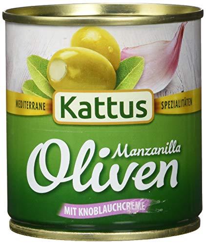 Kattus Spanische grüne Oliven, mit Knoblauchcreme gefüllt, 8er Pack (8 x 85 g)