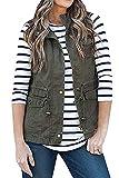 SENSERISE Womens Lightweight Sleeveless Military Anorak Drawstring Jacket Vest(Army Green,S) from