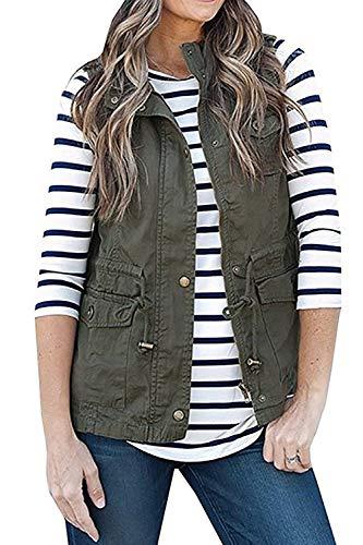 SENSERISE Womens Lightweight Sleeveless Military Anorak Drawstring Jackets Vests(Army Green,L)