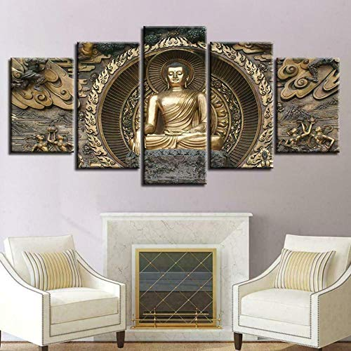 ADGN 5 Piece Canvas Wall Art Painting Buddha Statue Meditation Spiritual Prints On Canvas The Picture for Home Modern Decoration Print Decor for Living Room