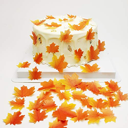 50 pcs Edible Fall Leaves Gold Leaf Cake topper maple leaves cake fall Decorations,edible gold leaf cup cake topper for Party Cupcake Topper