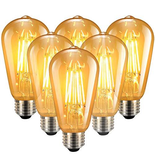 Familybox Vintage Edison Glühbirne E27- Warmweiß LED E27 6W Retro Dekorative Nostalgie und Retro Beleuchtung Antike Glühlampe Ideal für Haus Café Bar Restaurant usw, 6 Stück