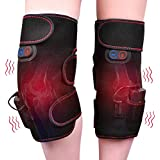 Wireless Heated Knee Massager Vibration Knee Pads Heated Knee Wrap for Pain Relief - Arthritis Injury Recovery - 2pcs for Left and Right - Powered by Portable Charger