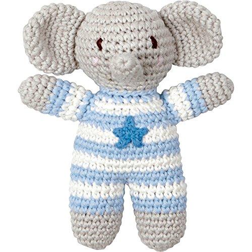Die Spiegelburg - Häkel-Rassel Elefant, BabyGlück, hellblau, 13970