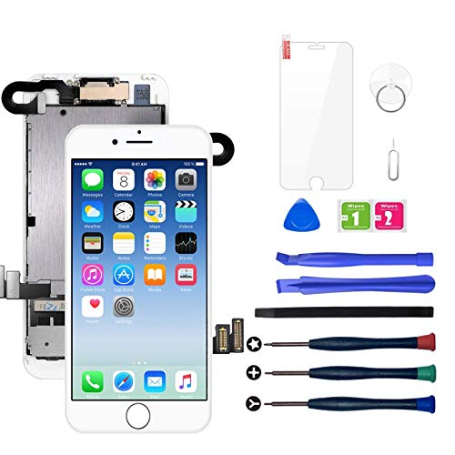 LWMTT Display Reparaturset für iPhone 7 Display Weiß Ersatz LCD Touchscreen Digitizer mit Bildschirm Glas und Komplettes Kostenlose Profi-Werkzeugset mit Frontkamera,Lautsprecher