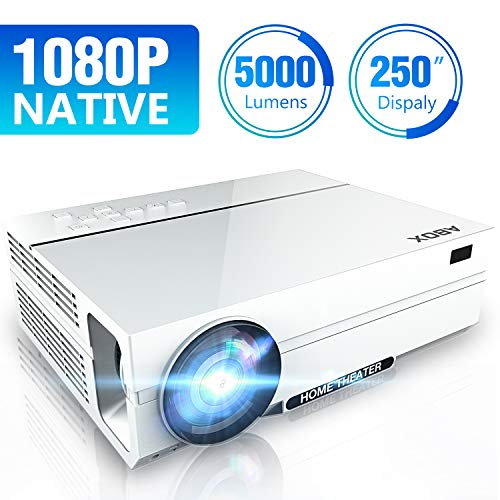 Full HD Support 1080p Video Projector, ABOX Native 1920 x 1080p Projector, 5000 Lux, 50000 Hrs, 2X HiFi Speakers,Supports TV Stick, HDMI, USB, SD Card, VGA, AV …