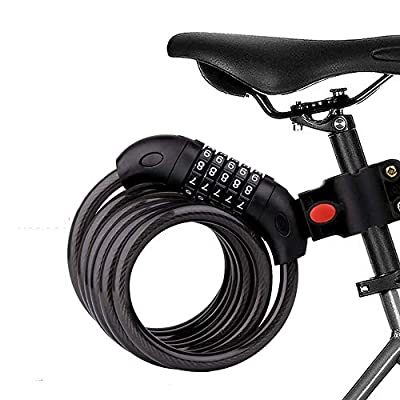 Bike Lock, 5-Digit Resettable Combination 47.24 Inch Heavy Duty Bike Lock, 4ft Cable Lock for Bike with Bracket, for Bicycles, Motorcycles, Electric Bicycles, Iron Sliding Doors, Glass Doors (Black)