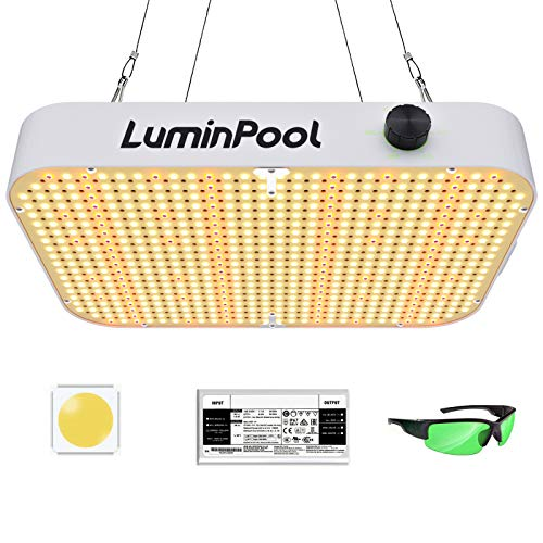 Luminpool Grow Lights, 1200W LED Grow Light with 588 LEDs, Dimmable and Full Spectrum Function for Hydroponic Indoor Plants Veg and Flower, Grow Lamp with Anti-UV Glasses