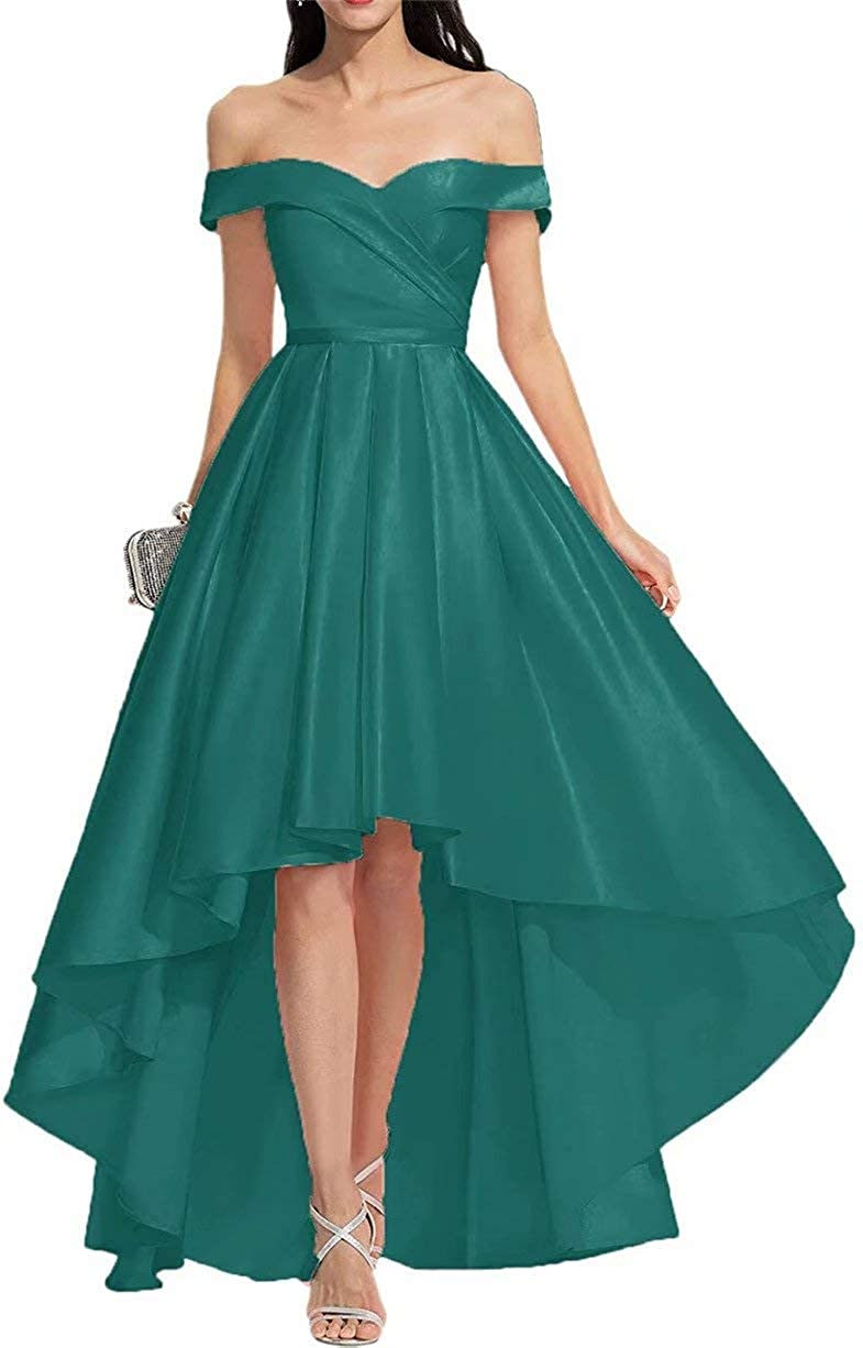 Women's Off Shoulder Prom Cocktail Dress High Low Satin Formal Evening Ball Graduation Gowns